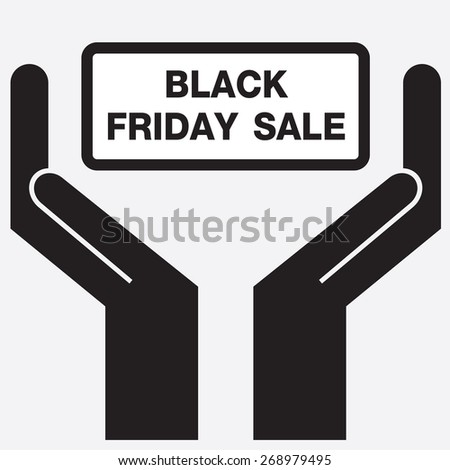 Hand showing black friday sale sign icon. Vector illustration.