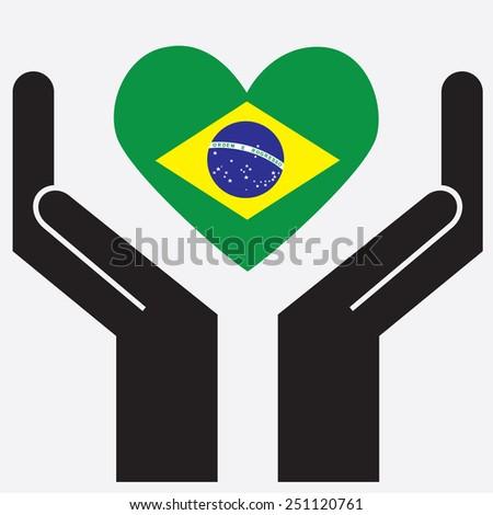 Hand showing Brazil flag in a heart shape. Vector illustration. - stock vector