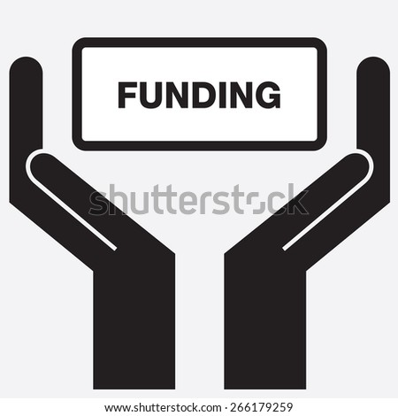 Hand showing funding sign icon. Vector illustration. - stock vector