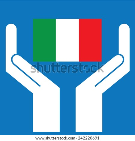 Hand showing Italy Flag. Vector illustration - stock vector