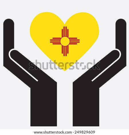 Hand showing New Mexico flag in a heart shape. Vector illustration.  - stock vector