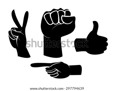 Hand sign and gesture collection silhouette isolated over white background, vector illustration set  - stock vector