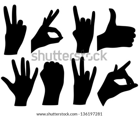 hand sign collection - stock vector