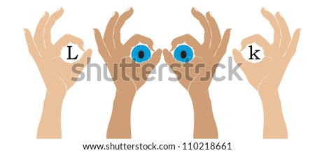 Hand sign ok  with an eyes. Vector silhouette. - stock vector