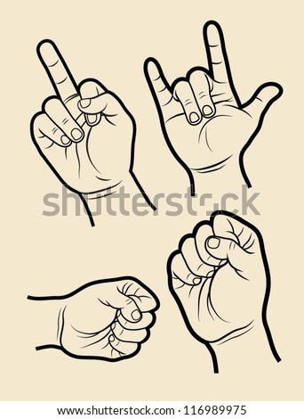 Hand sign rock, etc. Hand symbols collection with artistic lines. Easy to edit. - stock vector