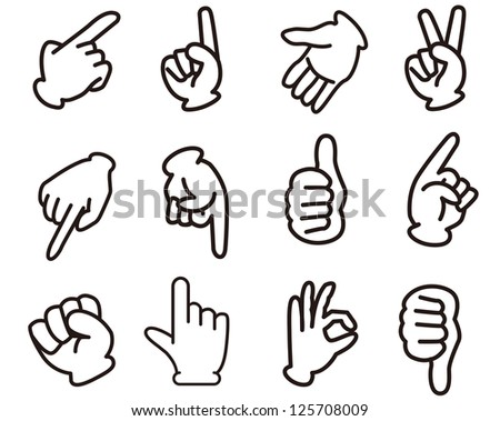 hand sign set - stock vector