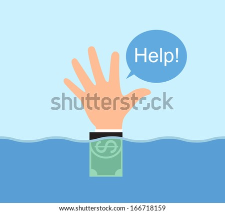 Hand signal, recourse floating in the water, conceptual, illustration vector design. - stock vector