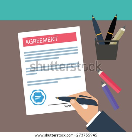 Hand signing agreement on white paper. Vector agreement icon. Flat illustration. - stock vector
