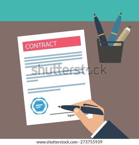 Hand signing contract on white paper. Vector contract icon. Flat illustration.