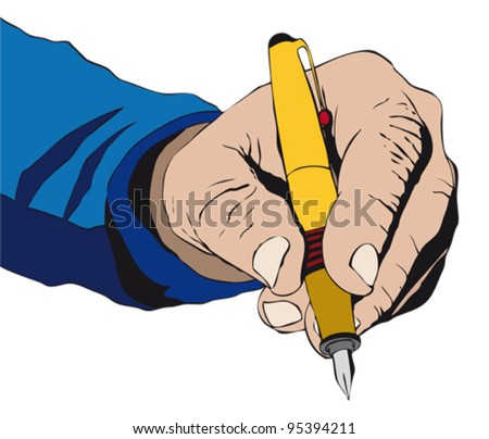 Hand signing something with a pen - stock vector