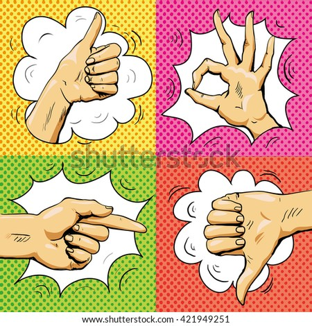 Hand signs in retro pop art style. Cartoon comic vector set. Pointing finger, ok sign, thumb up, thumb down. Like and dislike hand signs.