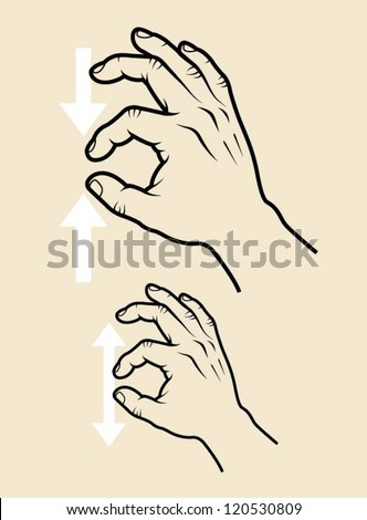 Hand signs vector. Touch screen edition, zoom in, zoom out