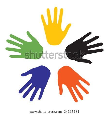 Hand signs with the colors of the five continents. Vector-Illustration - stock vector