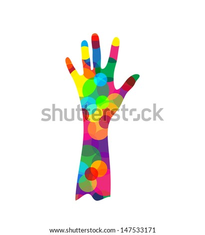 hand silhouette made of colored circles isolated on white background, vector illustration - stock vector