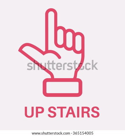 Hand silhouette with pointing finger. Vector direction sign - stock vector