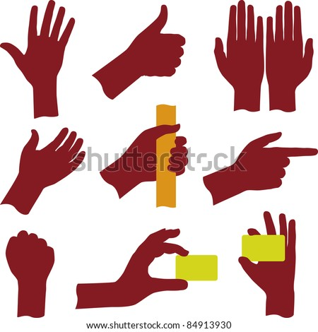 Hand silhouettes (vector) - stock vector
