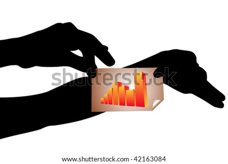Hand silhouettes with business sticker - stock vector