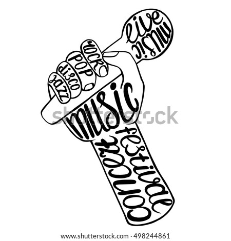 singer holding microphone text vector stock vector