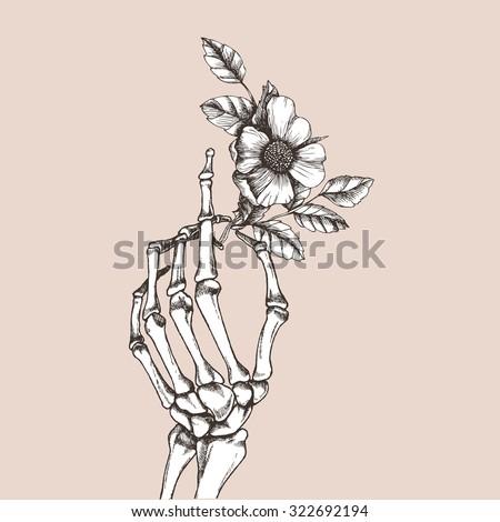 Hand skeleton flower vector illustration stock vector for Hand holding a rose drawing