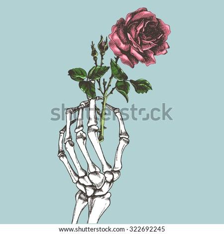 Hand skeleton with flower. Vector illustration. - stock vector