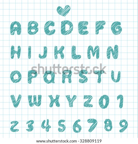 Hand sketch Alphabet font and number on note paper - Cute calligraphic set 02