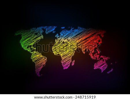 Hand sketch light world map, easy all editable - stock vector