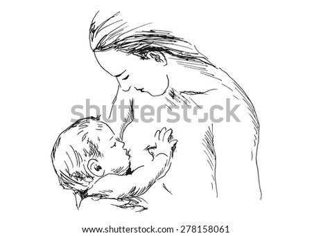 hand sketch nursing mother with baby - stock vector