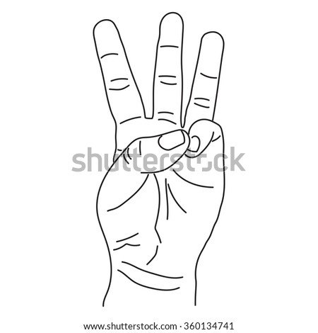 Hand sketch show number three vector