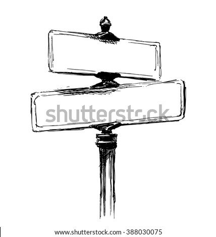 Hand sketch street signs. Vector illustration - stock vector