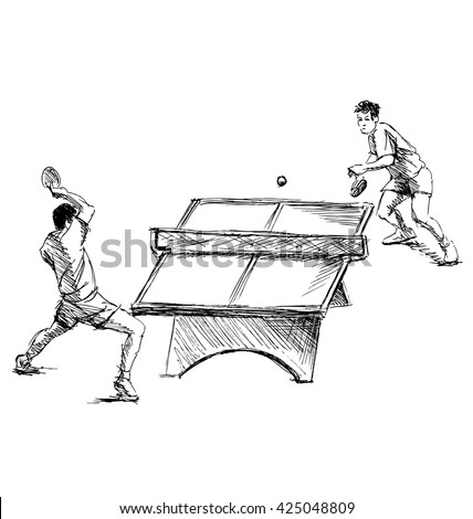 Hand sketch table tennis players. Vector illustration - stock vector