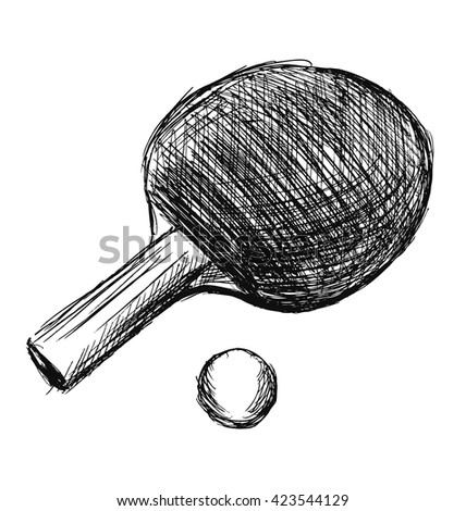 Hand sketch table tennis racket and ball. Vector illustration - stock vector