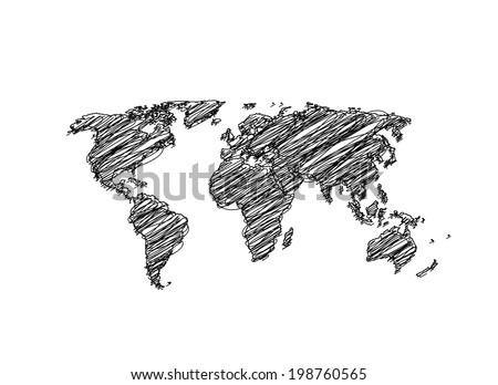 Hand sketch World Map Globe Vector   easy all editable - stock vector