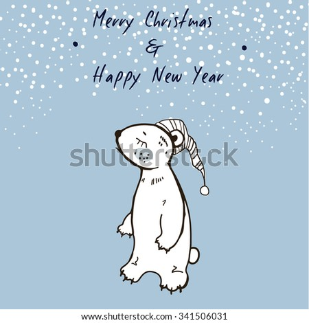 Hand Sketched Christmas Greeting Card With Cute Sleepy Bear. Merry Christmas and Happy New Year. Winter Vector Illustration - stock vector