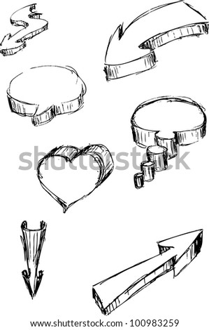 Hand Sketched Doodle Arrows, Heart and Speech Bubbles - stock vector
