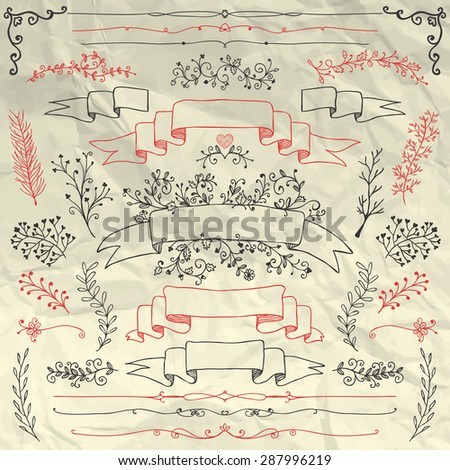 Hand Sketched Doodle Design Elements on Crumpled Paper Texture. Artistic Decorative Floral Banners, Dividers, Branches, Ribbons. Pen Drawing Vector Illustration. Pattern Brushes - stock vector