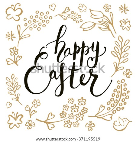 Hand sketched Happy Easter text as logotype, badge and icon. Easter postcard, card, invitation, flyer, banner template. Easter lettering typography. Season's Greetings - stock vector