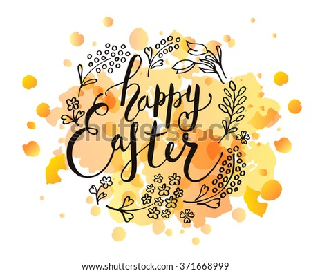 Hand Sketched Happy Easter Text Logotype Vector 387412048 – Easter Postcard Template