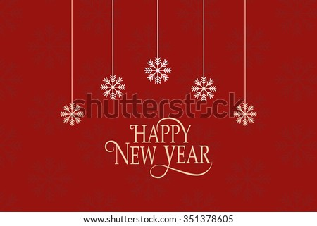 Hand sketched Happy New 2016 Year logotype, badge and icon typography with snowflakes. Hand drawn lettering of Happy New 2016 Year for New Year greeting card template. Happy New Year banner, flyer - stock vector