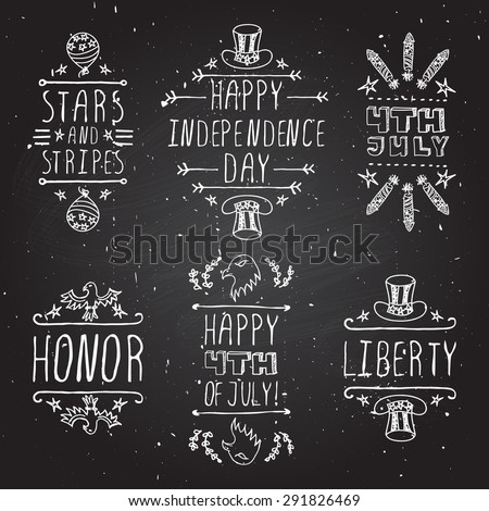 Hand-sketched independence day typographic elements on chalkboard background.  Stars and stripes. Happy Independence Day. Happy 4th of July. Honor and Liberty.  - stock vector