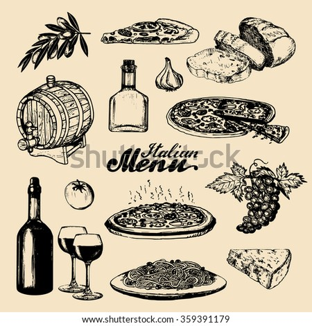 Hand sketched italian menu. Italian cuisine signs. Vector set of hand drawn mediterranean food elements with hand lettering. Hand sketched traditional southern europe meal and drink in ink style. - stock vector