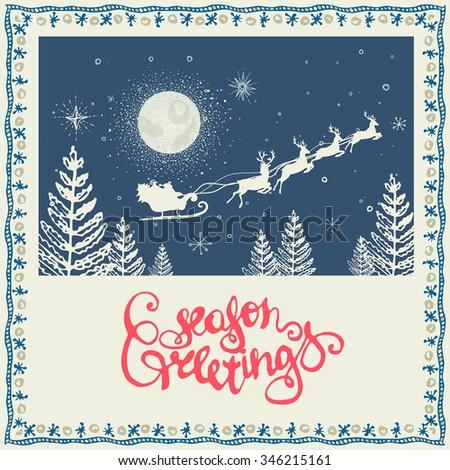hand-sketched, retro-christmas design - stock vector