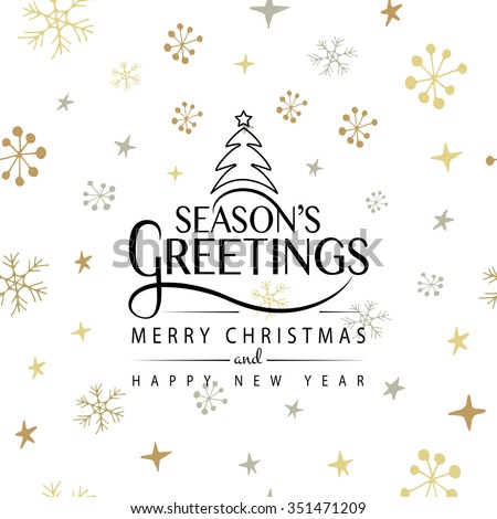 Hand sketched Season's Greetings logotype, badge and icon typography. Hand drawn lettering of Season's Greetings for Christmas/New Year greeting card template. Season's Greetings banner, flyer - stock vector