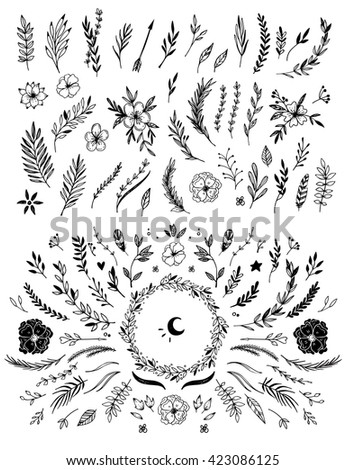 Hand sketched vector vintage elements ( laurels, frames, leaves, flowers, swirls and feathers). Wild and free. Perfect for invitations, greeting cards, quotes, blogs, Wedding Frames, posters and more. - stock vector