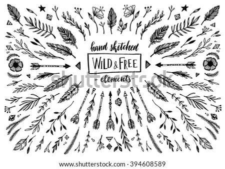 Hand sketched vector vintage elements ( laurels, frames, leaves, flowers, swirls, feathers). Wild and free. Perfect for invitations, greeting cards, quotes, blogs, posters etc. - stock vector