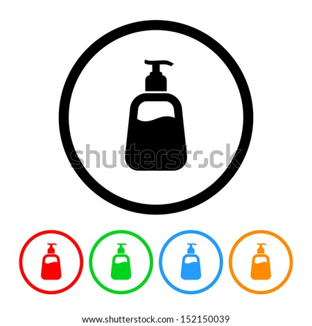Hand Soap or Lotion Icon with Color Samples - stock vector