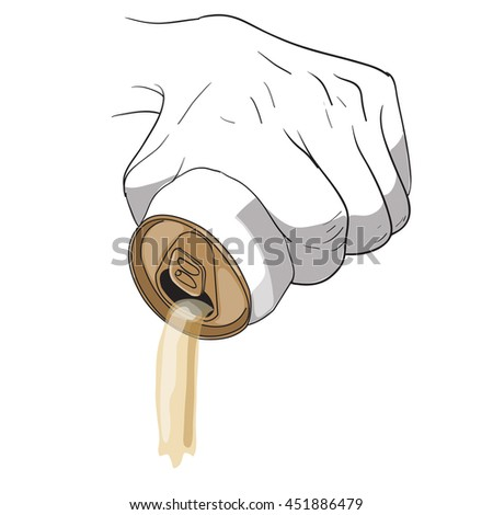 hand squeezing beer can vector ,pour beer