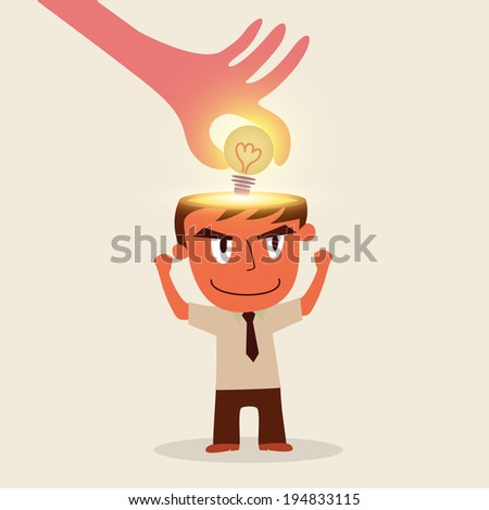 Hand stealing idea bright bulb from businessman - stock vector