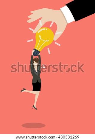 Hand stealing idea light bulb from business woman. Idea concept - stock vector