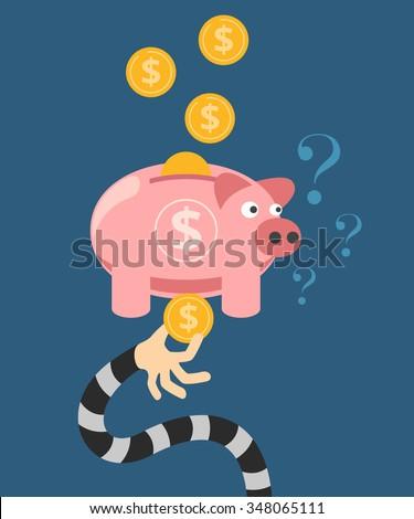 Hand stealing money from piggy bank. Vector flat illustration - stock vector