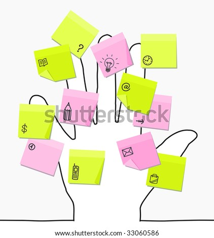 hand & sticky notes - stock vector